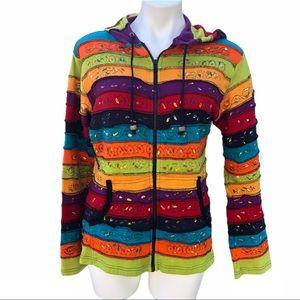 Karma Circle boho hoodie, 100% cotton, medium